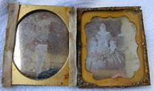 Lot of 2 Antique 1/6 Plate Daguerreotype Dag Photos Well Dressed Man & Sisters
