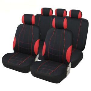 9Pcs Car SUV Truck Black/Red Seat Cover Full Set Interior Accessories Universal