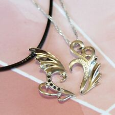 925 Sterling Silver Dragon and Phoenix Fancy Wing Heart Couple Necklaces