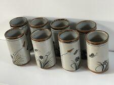8 Teresa Duran Xochiquetzal Mexico Pottery Tumblers Butterfly Cups Tonala