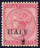 NATAL 1877 ½D ON 1D ROSE FRESH MOUNTED MINT. STANLEY GIBBONS NUMBER 88.