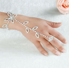 Delicate Women Rhinestone Hand Harness Bracelet Slave Chain Link Finger Ring