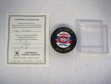 Montreal Canadiens Guy LaFleur Gold Hand Signature NHL Hockey Puck w/COA