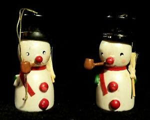 Vintage Wooden Snowman Ornaments With Little Straw Brooms - Taiwan