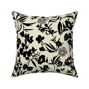 Tropical Blooms Black + Cream Throw Pillow Cover w Optional Insert by Roostery