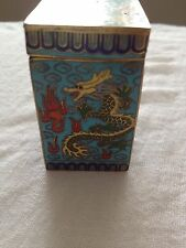 Vintage Chinese Cloisonné Trinket Box Dragon Design