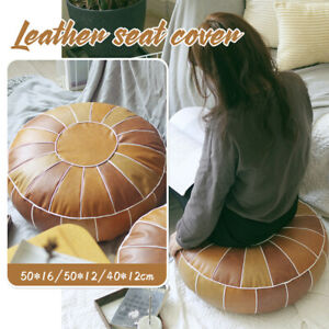 Moroccan PU Leather Pouf Cover Floor Pillow Covers Ottoman Cushion Unstuffed NEW