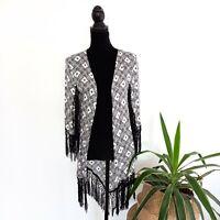 Sportsgirl Aztec Patterned Black & White Kimono Fringed Detail Women's Size S/M