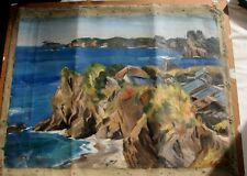 Monhegan Oil-Houses By Rocks-Signed-Powerful Work-Needs Restoration