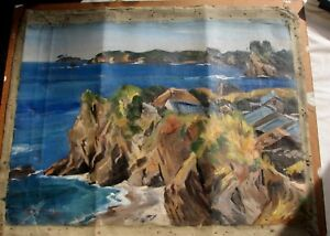 Fabulous Oil-Houses By Rocks-Signed-Powerful Work-Needs Restoration