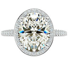 Diamond Vintage Engagement Ring 925 Silver 4 Ct Oval Cut Near White Moissanite