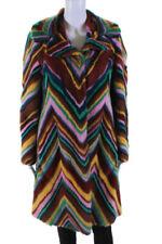 Valentino para mujer abrigo visón 2015 Arco Iris Chevron Multi Color Talla 40 italiano