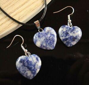 Blue Sodalite Gemstone Heart Statement Necklace & Earrings Set #1578