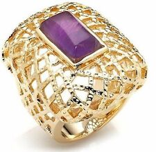 Bellezza Amethyst Bronze Openwork Dome Ring Polished &Textured 16 Gms Sz 5 & 6