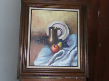 Still Life Oil Painting Art on Canvas Signed Framed