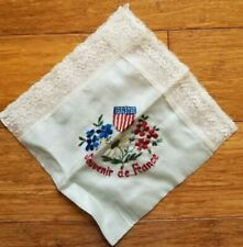 "Vintage Embroidered Silk Kerchief ""Souvenir de France"" World War I - Lace Border"