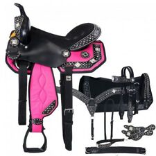 """Western Black and Pink 7 Piece Package Synthetic Saddle Deal 15"""""""