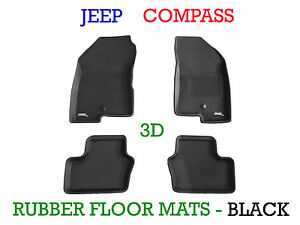 Fits Jeep Compass 2007 - 2017 Genuine 3D Black Rubber Car Floor Mats