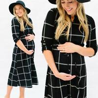 Women Pregnancy Maternity Casual V Neck Plaid Print Tunic Long Sleeve Long Dress