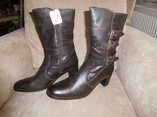 Ausverkauf Damen Stiefel Gr.40 Schnallen Reißverschluss 6 cm Hacken alessia neu