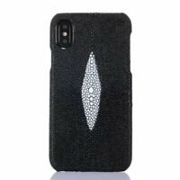 Real Genuine Stingray Skin Leather Back Case Cover For iPhone X 7 8 6 Plus