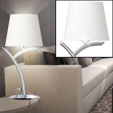 DESIGN LAMPE DE TABLE CHROME Chambre à coucher Nuit Lumière Arc tissu blanc