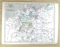 1867 Antique German Map of Germany in 1618 17th Century Old Hand Coloured
