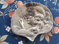 Rare Art Nouveau Ash Tray or Jewelry Pin Dish, Woman Smoking