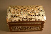Old Vintage Middle Eastern Marquetry Dome Box MOP & Abalone Handmade Inlay Wood