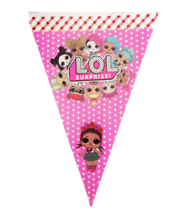 LOL DOLL SURPRISE PARTY FLAG BANNER BUNTING TABLE COVER THEME DECORATION BUNTING