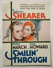 1932 *NORMA SHEARER-SMILIN' THROUGH* VINTAGE DOUBLE-SIDED COLOR AD (AS)