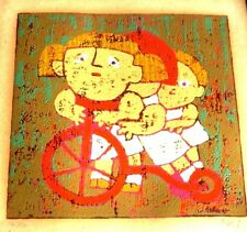 "VINTAGE 1960'S LINOCUT  ""3 KIDS  ON TRICYCLE,"" BY AL ROBI"