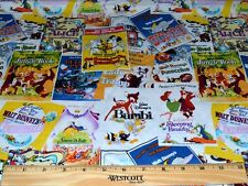 RETIRED DISNEY MOVIE BILLBOARDS FABRIC! BY HALF YARD! DUMBO~JUNGLE BOOK~BAMBI