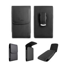 Black Leather Case Pouch Holster with Belt Clip for MetroPCS LG K7 MS330