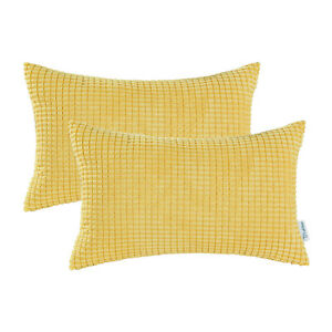 """2Pcs Gold Yellow Pillow Cover Shell Corn Corduroy Striped Comfy Supersoft 12x20"""""""