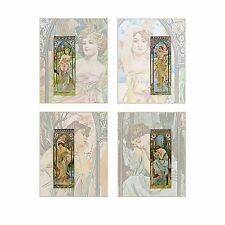 "Art Nouveau Alphonse Mucha Print: TIMES OF DAY  Sized for 8""×10"" Set of 4 Prints"