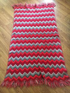 Felted Vintage Crochet Wool Blend Throw Blanket, Red & Grey Chevron Stripe 63x33