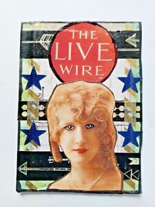 """""""THE LIVE WIRE"""" mixed media collage stars vintage LADY altered art card aceo"""
