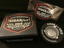 Cigars International Cigarfest 2019 Set Humidor, Ashtray, License Plate Keychain