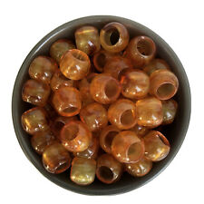 20X Amber Honey Brown Macrame Beads 17x13mm Round Resin Bead 9.5mm Big Hole