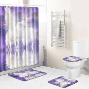 White Unicorn Shower Curtain Bathroom Rug Set Bath Mat Non-Slip Toilet Lid Cover