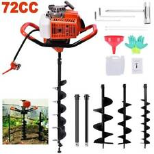6272cc Post Hole Digger Gas Powered Earth Auger Borer Fence Ground 3 Drill Bits