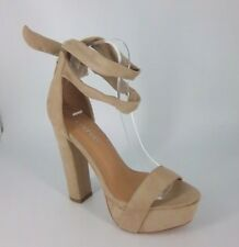 Boohoo Platform High Heel Sandals Wrap Around Leg Beige UK 5 EU 38 NH086 ii 03