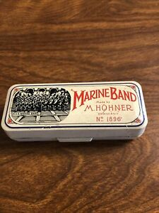 Vintage M. Hohner Marine Band Harmonica No. 1896 Key of E In Case