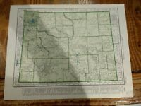 1942 Railroad Map of Wyoming With A Map Of Alaska On Reverse