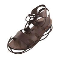 Sandali gladiatore da uomo SUOLA VERO CUOIO Made in Italy in pelle Lapo Marrone