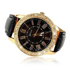 Bling Crystal Women Luxury Stainless Steel Leather Strap Quartz Wrist Watch New