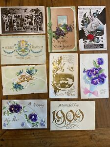 New Years Antique Postcard Collection C1910