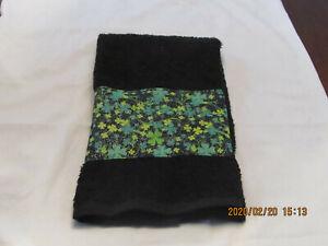 Handmade Green and Yellow Shamrocks Fabric on a Black Hand Towels