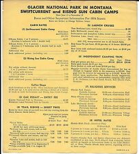 1954 Price List for Cabins and Excursions in Glacier National Park Montana